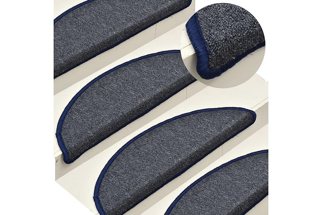Trappemåtter 15 Stk. 65X24X4 cm Mørkegrå Og Blå - Grå - Boligtilbehør - Tæpper - Trappetrins tæpper