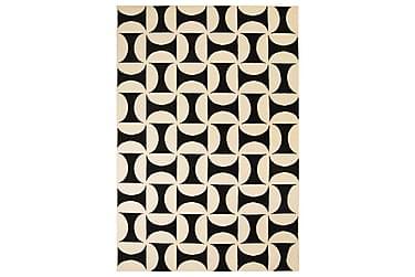 Moderne Tæppe Geometrisk Design 120 X 170 Cm Beige/Sort