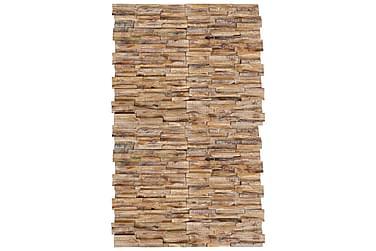 Vægbeklædningspaneler 3D 20 stk. massivt teaktræ 2 m²