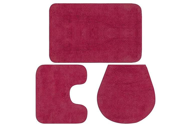 bademåttesæt i 3 dele stof fuchsia - Lyserød - Boligtilbehør - Tekstiler - Badeværelsestekstiler