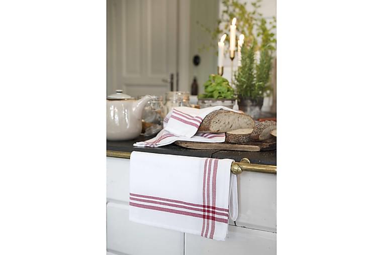 Håndklæde hvid / rød kanter, bomuld 50x70 - Boligtilbehør - Tekstiler - Badeværelsestekstiler
