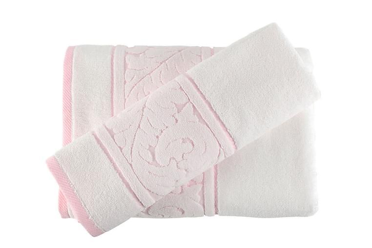 Hobby Håndklæde Sæt med 2 - Hvid/Lyserød - Boligtilbehør - Tekstiler - Badeværelsestekstiler