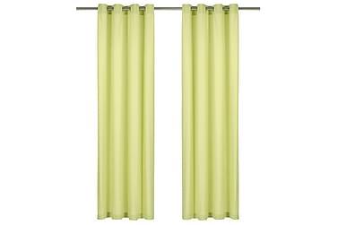 gardiner med metalringe 2 stk. 140 x 225 cm bomuld grøn