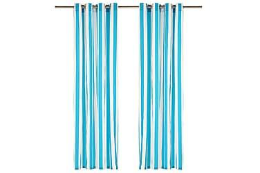 gardiner med metalringe 2 stk. 140 x 225 cm stof striber blå
