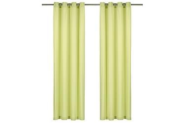 gardiner med metalringe 2 stk. 140 x 245 cm bomuld grøn