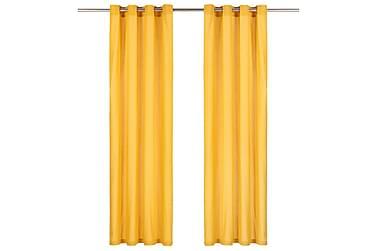 gardiner med metalringe 2 stk. 140 x 245 cm bomuld gul