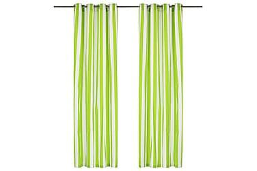 gardiner med metalringe 2 stk. 140x175 cm stof striber grøn