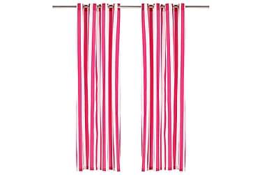 gardiner med metalringe 2 stk. 140x175 cm stof striber pink