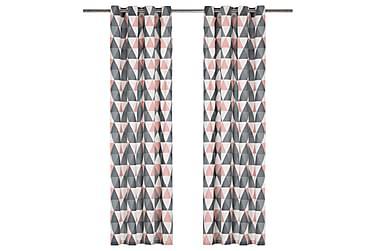 gardiner med metalringe 2stk. 140x225cm bomuld grå og pink