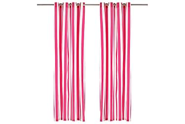 gardiner med metalringe 2 stk. 140x225 cm stof striber pink