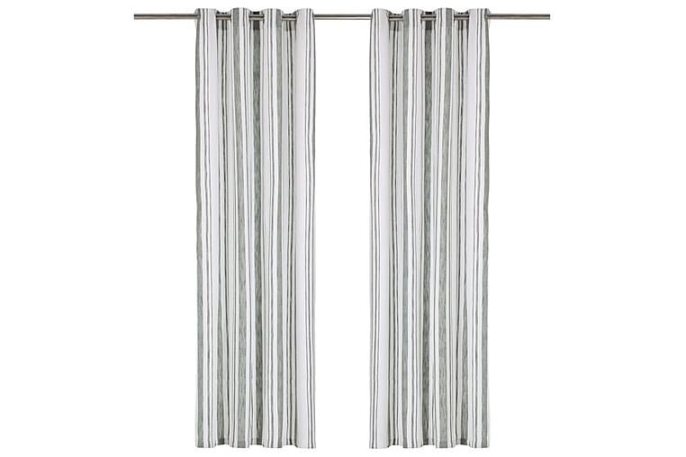 gardiner med metalringe 2 stk. 140x245 cm bomuld grønstribet - Grøn - Boligtilbehør - Tekstiler - Gardiner