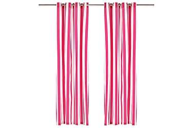 gardiner med metalringe 2 stk. 140x245 cm stof striber pink