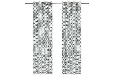 gardiner med metalringe 2stk. 140x175cm bomuld firkant grøn
