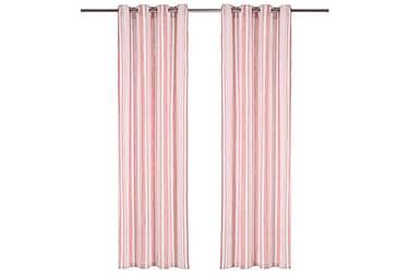 gardiner med metalringe 2stk. 140x175cm bomuld striber pink