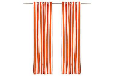 gardiner med metalringe 2stk. 140x175cm stof striber orange