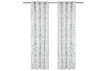 gardiner metalringe 2 stk. 140x175 cm bomuld blomstret grøn