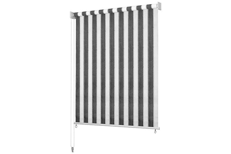Udendørs Rullegardin 400x230 cm Stribet Antracitgrå og Hvid - Antracit - Boligtilbehør - Tekstiler - Gardiner