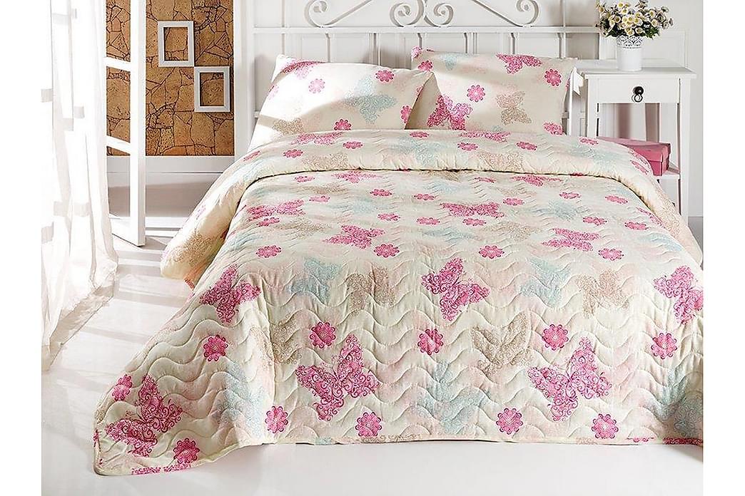 Eponj Home Sengetæppe Enkelt 160x220+Pudebetræk Quiltet - Creme/Beige/Lyserød - Boligtilbehør - Tekstiler - Sengetøj