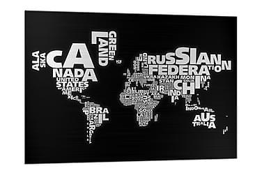 Billede i glas Världskarta Sort