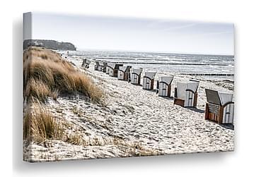 Beach Huts Billede Canvas