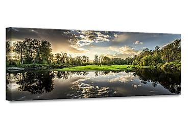 Green Sunset Billede Canvas
