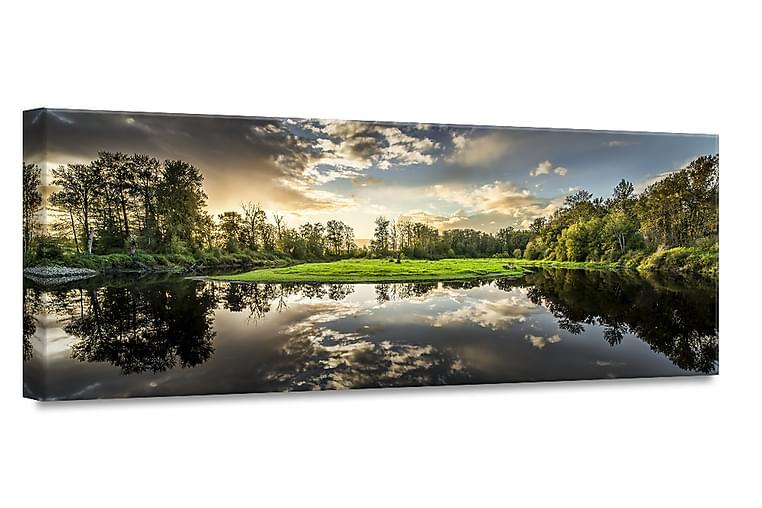 Green Sunset Billede Canvas - 60x150cm - Boligtilbehør - Vægdekoration - Billeder på lærred