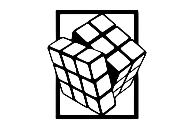 Rubik Cube Fototapet - Homemania - Boligtilbehør - Vægdekoration - Billeder på lærred