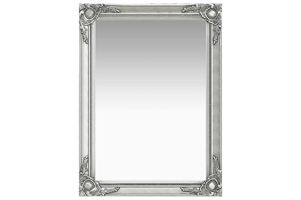 Vægspejl Barokstil 60x80 cm Sølvfarvet - Boligtilbehør - Vægdekoration - Spejle