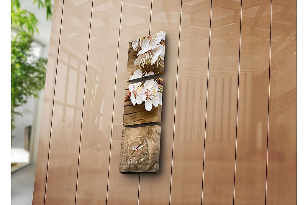 Dekorativt Canvas Maleri med Ur 3 Dele - Flerfarvet - Boligtilbehør - Vægdekoration - Ure