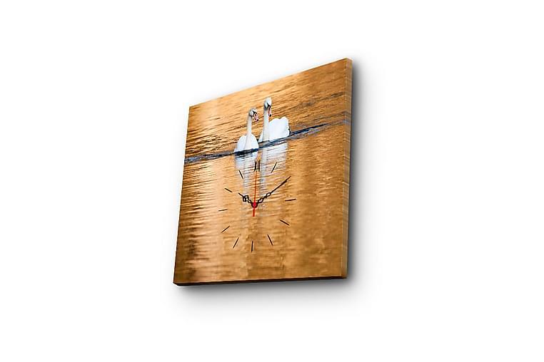 Dekorativt Canvas Maleri med Ur - Flerfarvet - Boligtilbehør - Vægdekoration - Ure