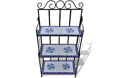 Plantestativ Mosaikdesign Blå Hvid