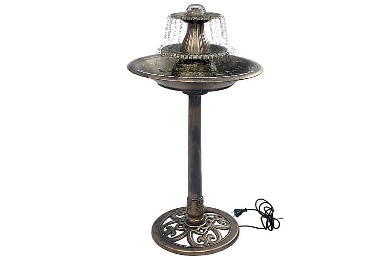 Fuglebad Med Springvand 50x91 cm Plastik Bronzefarvet - Brun - Have - Havedekoration & havemiljø - Damme & springvand