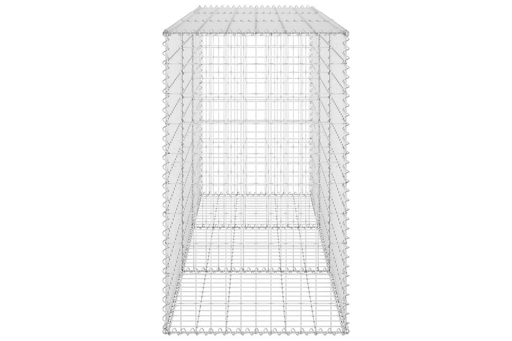 Gabionvæg med dæksler 200x60x100 cm galvaniseret stål - Sølv - Have - Havedekoration & havemiljø - Hegn & Porte