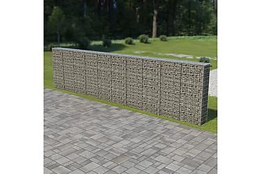 Gabionvæg Med Dæksler Galvaniseret Stål 600 X 30 X 150 Cm