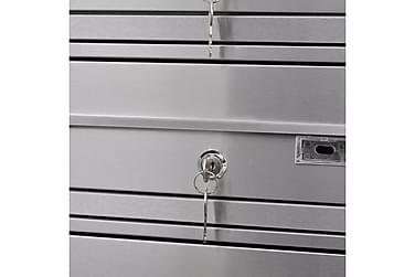 Firdobbel Postkasse På Stander Rustfrit Stål