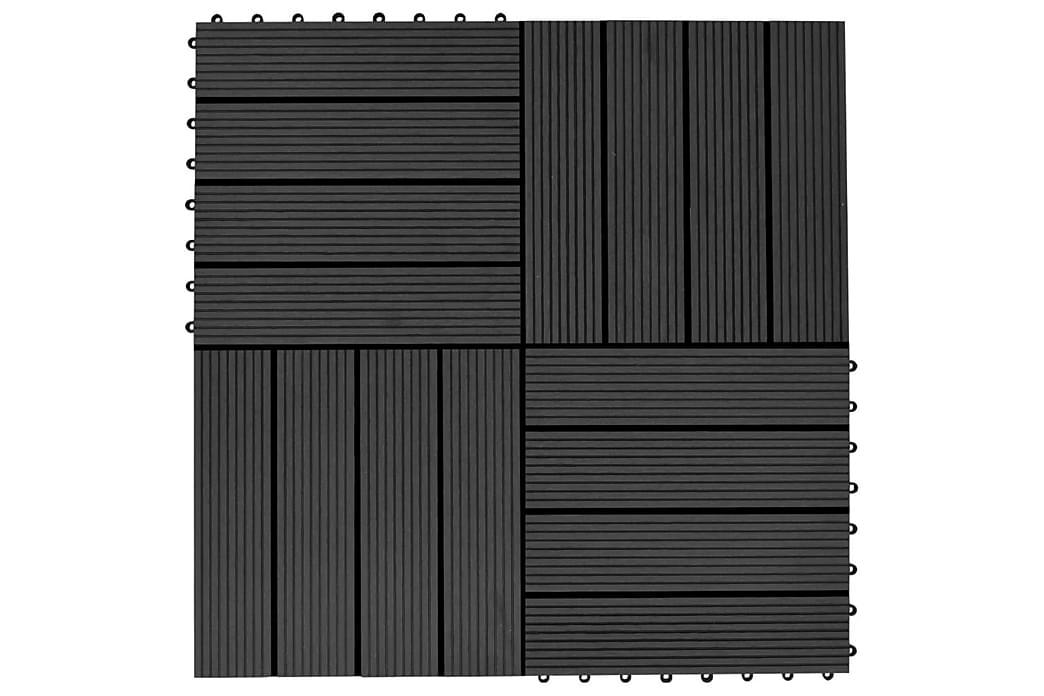 Terrassefliser 22 stk. 30 x 30 cm 2 m2 WPC sort - Sort - Have - Havedekoration & havemiljø - Terrasseflise
