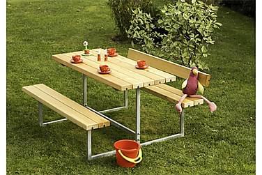 Basic bord- og bænkesæt til børn med 2 ryglæn - olieret lærk