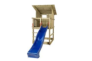 PLUS Play legetorn med skråtag inkl. Blå rutsjebane