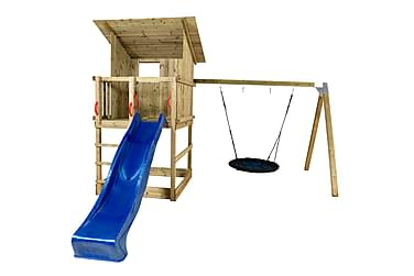 PLUS Play legetorn med skråtag inkl. gyngestativ, Blå rutsje