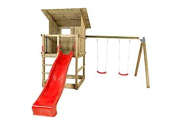 PLUS Play legetorn med skråtag inkl. gyngestativ, Rød rutsje