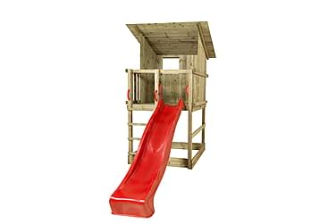 PLUS Play legetorn med skråtag inkl. Rød rutsjebane