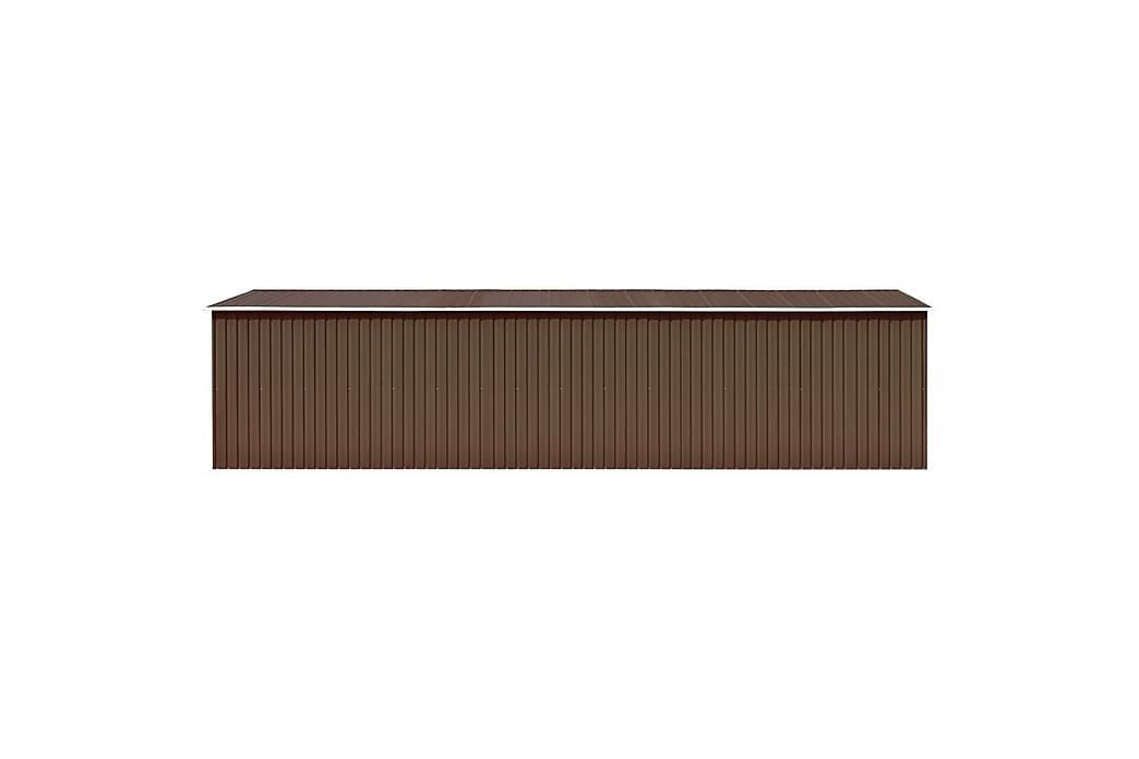 Haveskur 257x779x181 cm Galvaniseret Stål Brun - Brun - Have - Udendørs opbevaring - Redskabsskur