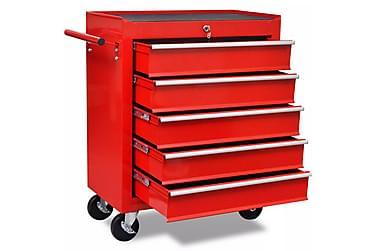 Rød Værkstedsvogn Med 5 Skuffer