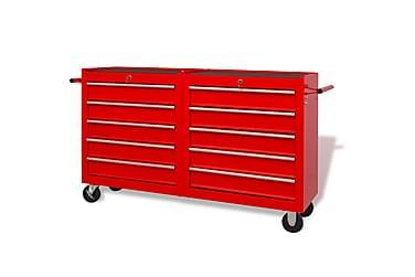 Værkstedsvogn Med 10 Skuffer Størrelse Xxl Stål Rød