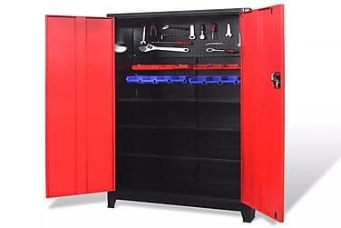 Værktøjsskab Med 2 Låger I Stål 90 X 40 X 180 Cm Sort Og Rød