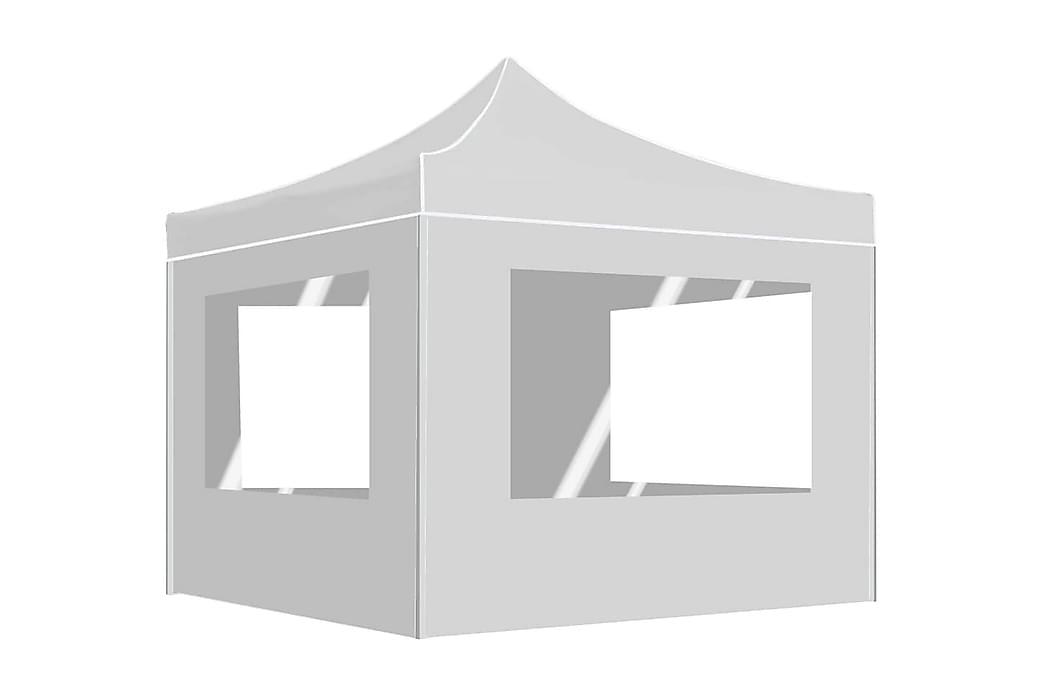 Foldbart Festtelt Med Vægge Aluminium 3 X 3 M Hvid - Hvid - Have - Udendørs opbevaring - Havetelt & lagertelte