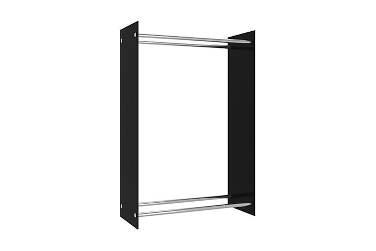 Brændestativ 80X35X120 cm Glas Sort - Have - Udendørs opbevaring - Redskabsskur