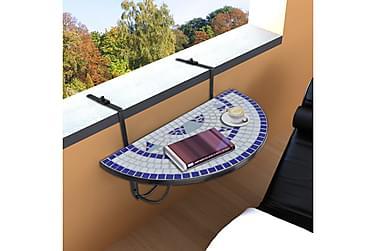 Hængede Balkonbord Halvrundt Mosaik Blå Og Hvid