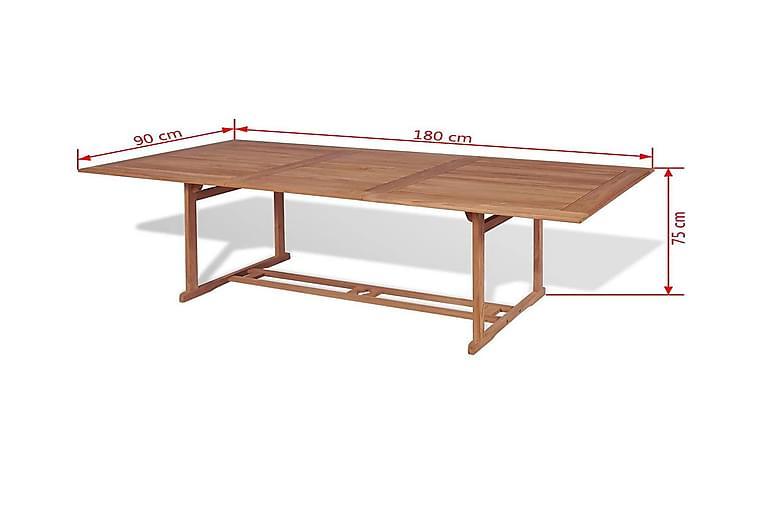 Udendørs Spisebord Rektangulær 180 X 90 X 75 Cm Teaktræ - Brun - Havemøbler - Havebord - Spisebord