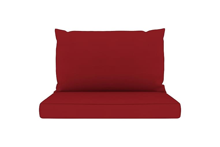Hynder til pallesofa 2 stk. stof vinrød - Rød - Havemøbler - Hynder - Hynder til bænk & havesofa